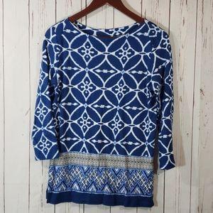 Rafaella Blue/Teal print 3/4 sleeve shirt Petite S